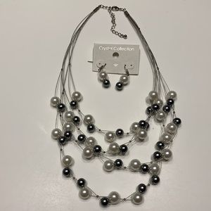 Multistrand Silver 'pearl' necklace & earring set